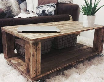 Storage Table Reclaimed Industrial Wood Coffee Table AHVIMA in Roast Coffee finish with Baskets,  Boho Living , Characterful & Rustic Design
