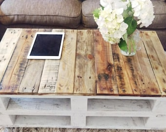 Reclaimed Wood Coffee Table LEMMIK In Farmhouse Style, Boho Storage Table,  Unique Rustic Pallet
