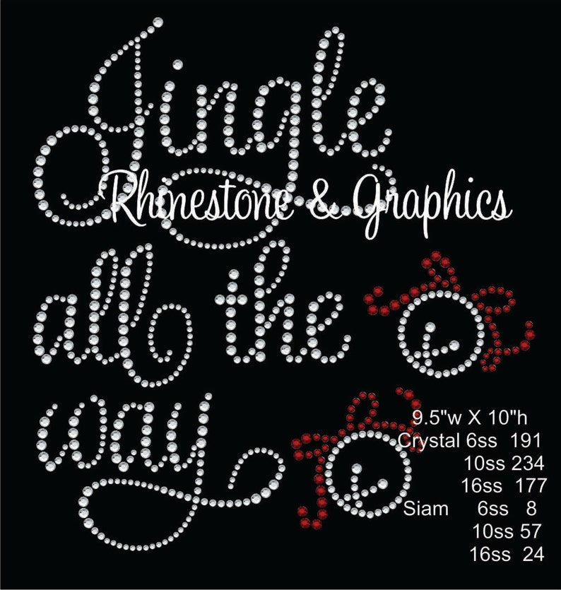96d9bdbafb7a5 Jingle All the Way Christas Rhinestone Pattern Graphic Design