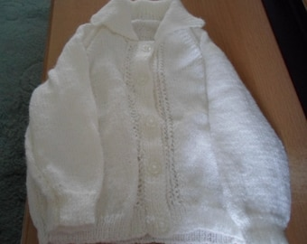 Child's Handknitted White Cardigan with Collar