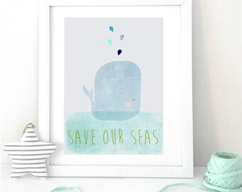 Whale Print/ Whale Art/ Nursery Whale Print/ Whale Quote/ Cute Whale Print/ Nautical Nursery/ Nautical Print/ Whale Gifts