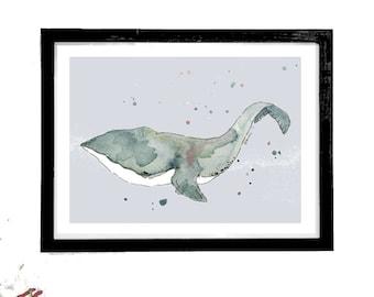 Whale Print, Whale Art, Humpback Whale, Whale Watercolour Art, Nautical Art, Sealife Prints, Whale Wall Art, Bathroom Art, Whale Gifts