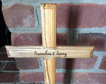 Handmade Wood Cross with stand. Bridal gift, wedding centerpiece, communion gift, baptismal gift, personalized.