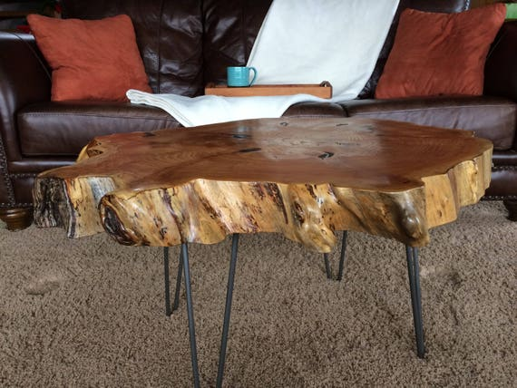 Live Edge Coffee Table Irregular Shape With Hairpin Legs Etsy