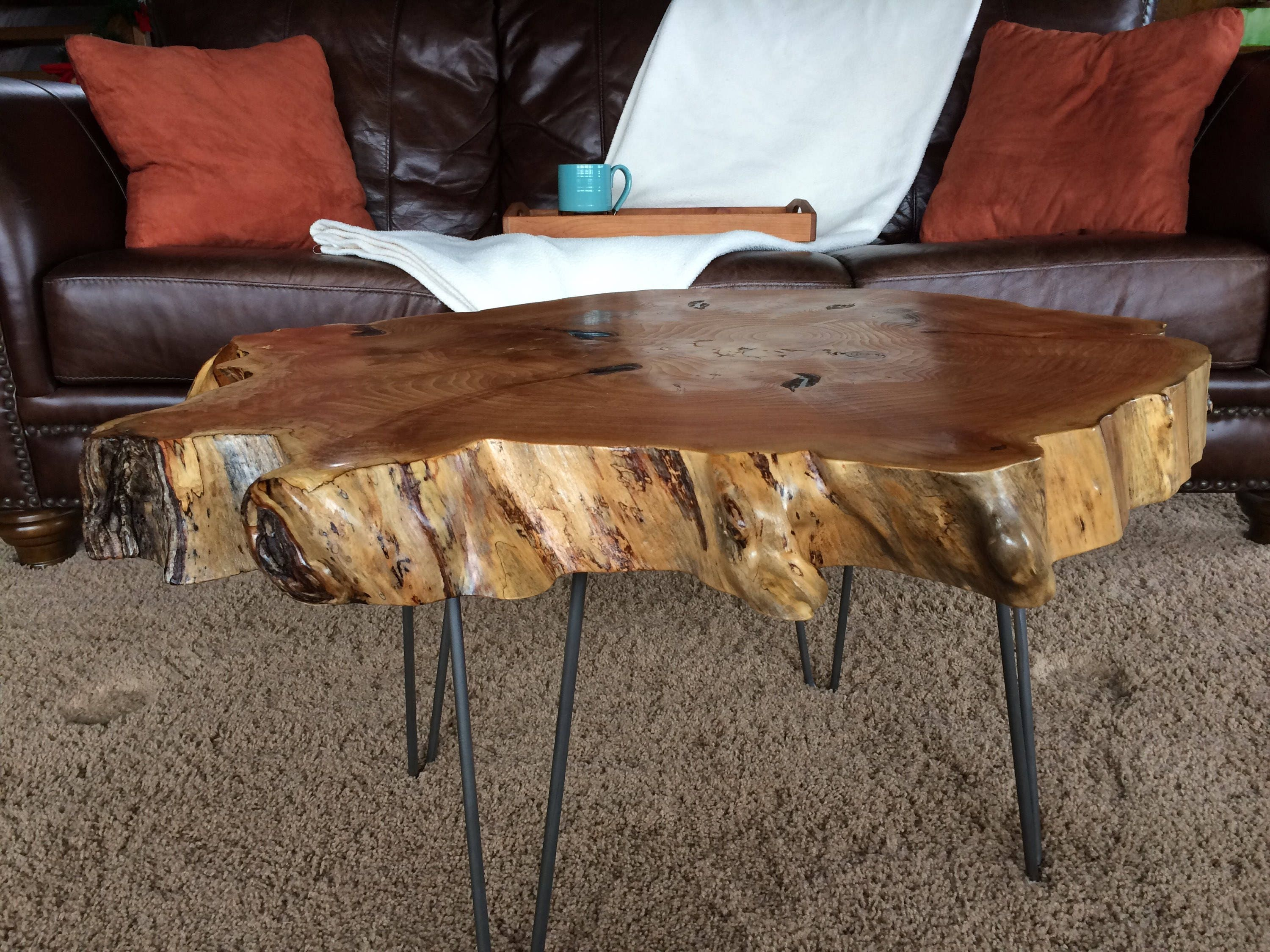 Live Edge Coffee Table, Irregular Shape With Hairpin Legs.