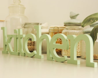 Beautiful Wooden Letters KITCHEN Sign, Hand Painted Letters For Kitchen, Soft Pastel  Colors, Choose
