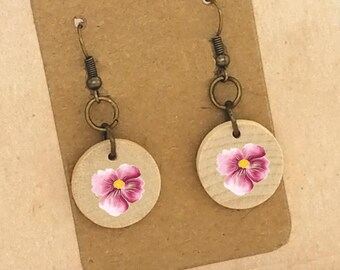 Pink Flower Earrings Pink Watercolor Earrings Pink Flower Wood Earrings  Pink Flower Photo Earrings Pierced Earrings Clip On Earrings