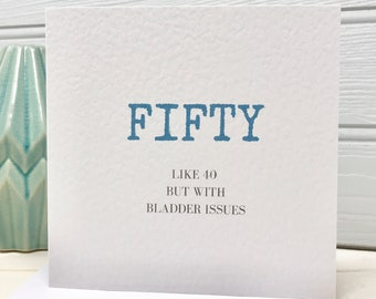 Funny 50th Birthday Card For Him Fiftieth Gift Friend