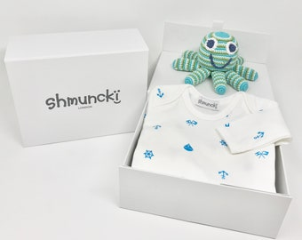 Boxed First Birthday Gift Nautical Baby Clothes Top Octopus Boy For Grandson Godson Nephew 1st