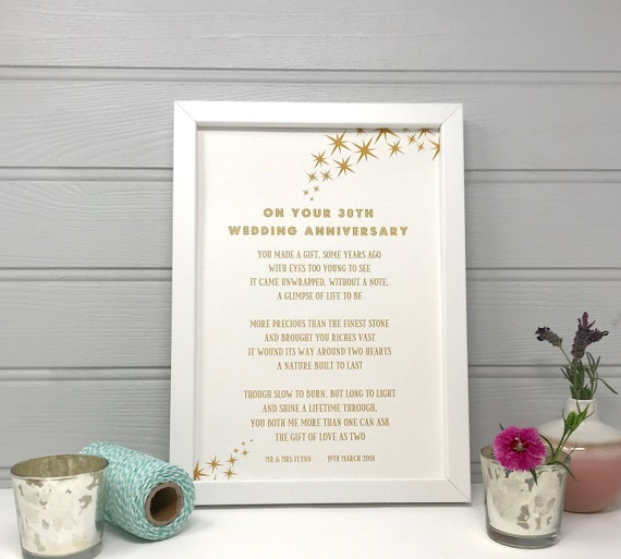 30th Wedding Anniversary Gift.Poem For 30 Years Married 30th Wedding Anniversary Gift