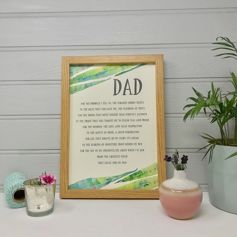 Personalised Dad Poem - Dad Gift - Father Gift - Dad Print - Gift from Son  or Daughter - Dad Poem Print