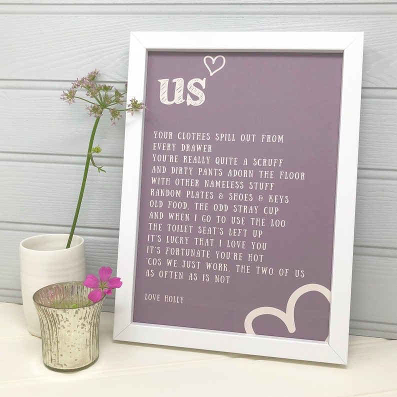 US Poem - Funny Gift for Boyfriend, Anniversary Gift for Him