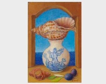 Small realistic oil painting, still life with triton conch shell and porcelain jar on a blue sea background