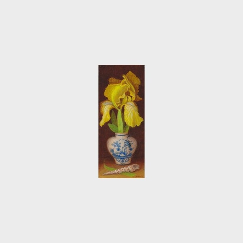 Still life with yellow iris small oil painting on wooden image 0