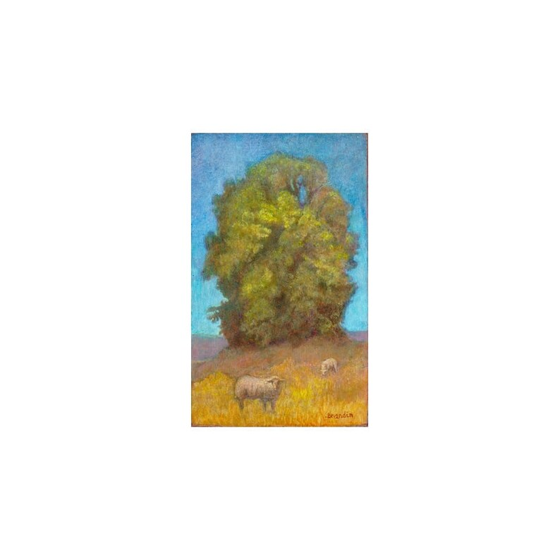 Small 19th century style country landscape with large trees image 0