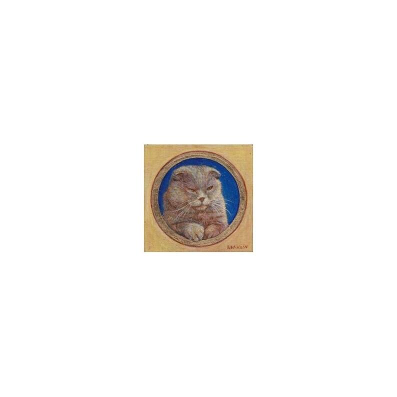 Portrait miniature de chat scottish fold peint à la tempera image 0