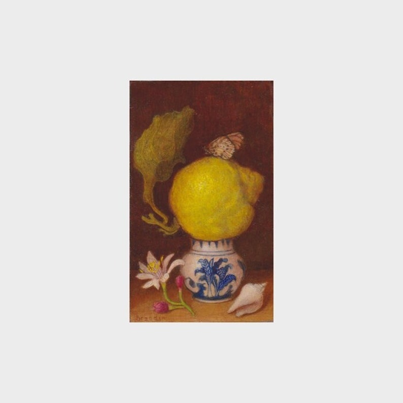Small realistic oil painting on wood with lemon and Delft image 0