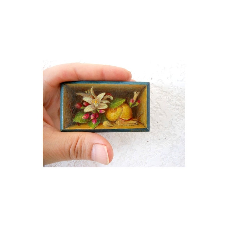 Tiny realistic trompe l'oeil miniature painting with image 0