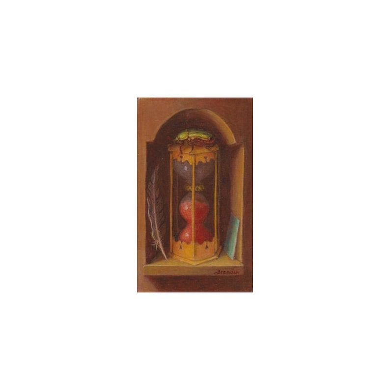Small oil painting on wood still life with copper hourglass image 0