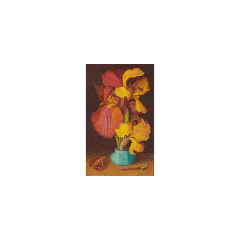 Original bouquet still life made with oil paint on wooden image 0