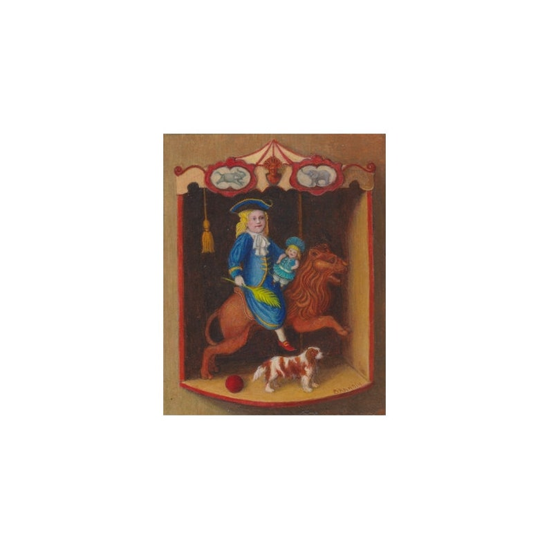 Framed miniature painting of a costumed girl in a carousel image 0