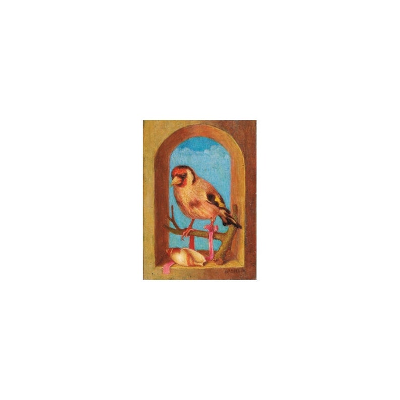 Miniature bird painting made with oil on small format wood image 0