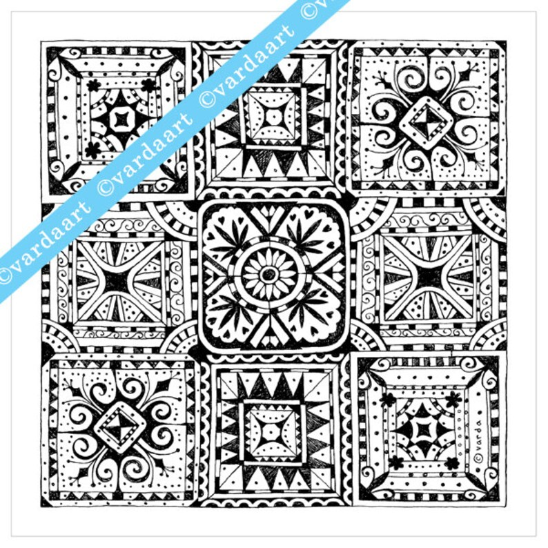 Detailed coloring page to download print out and color. B&w image 0