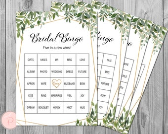 instant download template Tropical /& Gold Bridal Bingo Bridal Shower Game digital download electronic TG1 editable