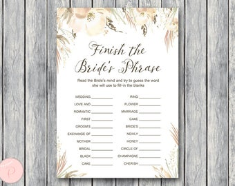 beige white floral finish the brides phrase game complete the phrase bridal shower game bridal shower activity printable game th72
