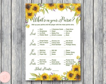 sunflower summer whats in your purse bridal shower game purse hunt purse raid coed bridal shower game bridal shower activity th80