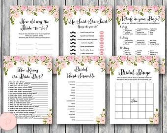 peonies bridal shower games package instant download 6 games printable game download bridal shower activities wd67 th13