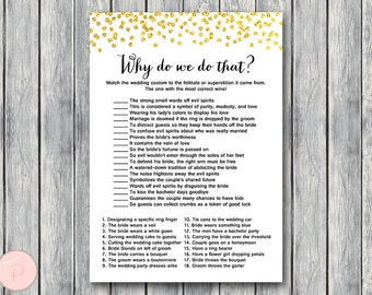 gold why do we do that bridal shower game wedding tradition quiz engagement game bridal shower game printable download wd47 th07