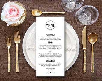 Black and White Modern Wedding Menu, Custom Wedding Menu Printable, Wedding Menu Template , Shower Menu DD WM148