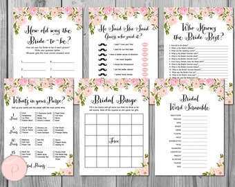 Peonies Bridal Shower Games, Bridal Shower Game, Package, Instant Download, 6 Games Printable, Bridal Shower Activities WD67 TH13