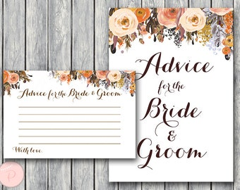Fall Autumn Advice for Bride Groom Card & Sign, Printable Advice Cards, Wedding Shower, Coed Bridal shower Game Printable wd82 TH40