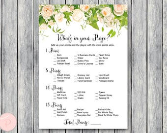 What's in your Purse Bridal Shower Game, Purse Hunt, Purse Raid, Bridal shower game, Bridal shower activity, Printable Game TH01