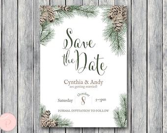 Winter Pinecone Save The Date Wedding Invitation, Christmas Invitation Printable, Bridal Shower Invitation, Wedding Invitation TH54 WS73