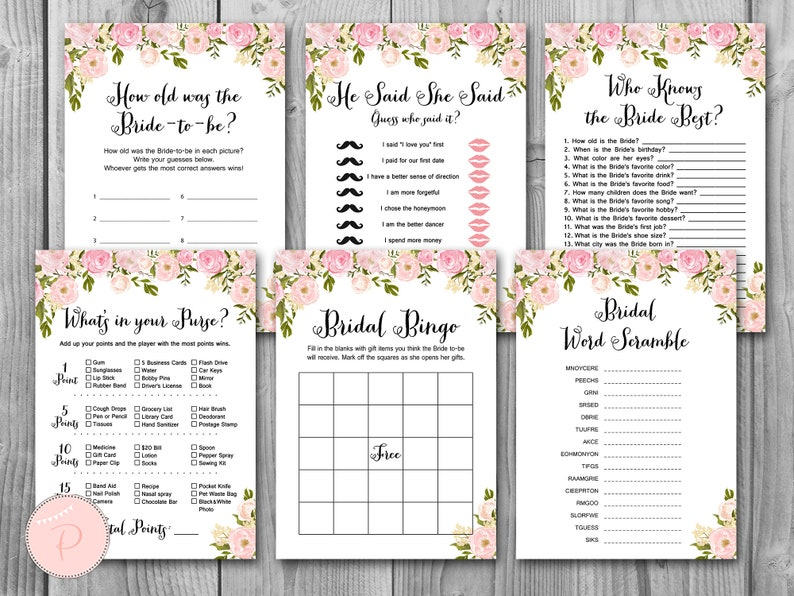 picture relating to Printable Bridal Shower Games called Peonies Bridal Shower Game titles, Bridal Shower Match, Offer, Quick Obtain, 6 Online games Printable, Bridal Shower Functions WD67 TH13
