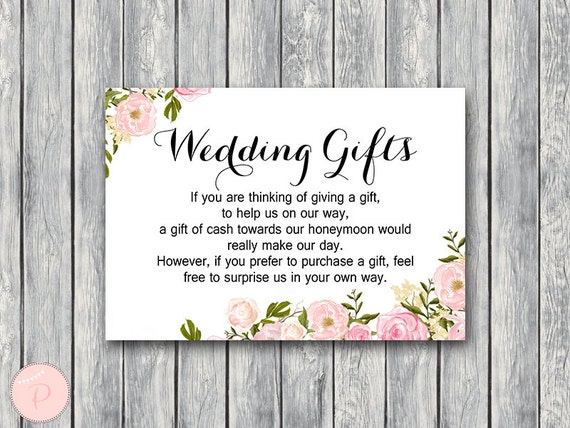 How Much To Pay For A Wedding Gift: Peonies Wedding Gift Honeymoon Fund Card And Sign Cash