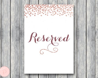 Rose Gold Reserved sign, Wedding Reserved seating sign, Reserved table sign, Wedding sign, Printable sign, Wedding decoration, TH68