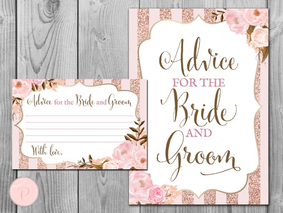 Advice for the Bride /& Groom Wedding Cards Rose Gold Effect