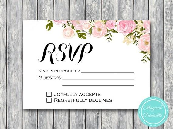 Peonies Wedding Rsvp Cards Rsvp Template Rsvp Wedding Cards Etsy