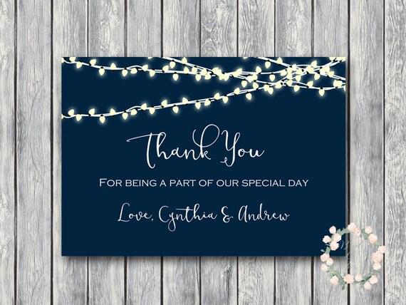 Night String Lights Custom Wedding Thank You Cards Thank You Etsy