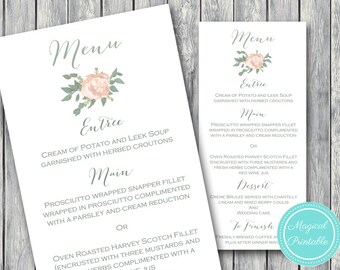 Printable Wedding Menu, Custom Wedding Menu Printable, Wedding Menu Template - Digital File, DIY Print TG04 WD11
