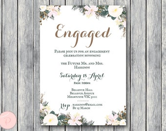 White Floral Printable Engagement Party Invitation, Personalized Invitation, Printable Wedding Invitation, Shower Invite WD74 TH21