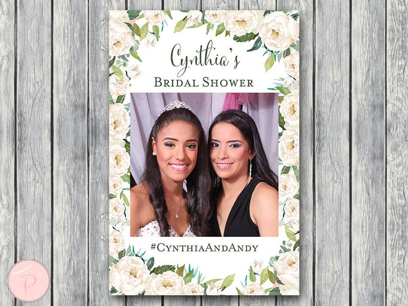 Ivory Floral Printable Custom Photobooth Frame, Wedding Photobooth Frame,  Photobooth Cutout, Photo Prop Frame, Photobooth Frame TH61