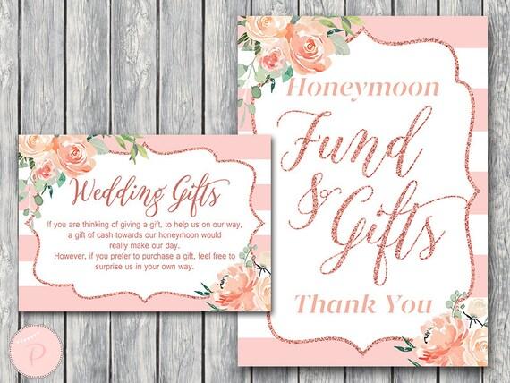 Rose Gold Hochzeitsgeschenk Flitterwochen Karte Und Zeichen Etsy