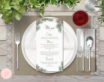 Pinecone Menu, Christmas, Xmas, Winter Menu, Personalized Menu, Custom Wedding Menu Printable, Wedding Menu Template, Snow WS73 TH54 WM165