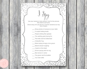 Silver I Spy Wedding Scavenger Game, Wedding Game Printable, Wedding Scavenger Printable, Printable Game wd92 TH64