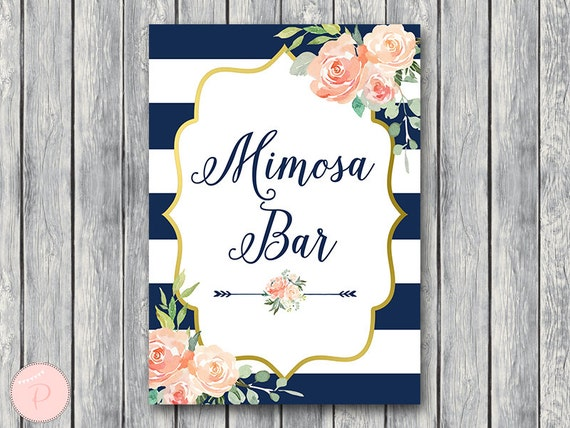 photograph regarding Mimosa Bar Sign Printable identified as Armed forces Gold Mimosa Bar Indicator, Bubbly Bar Indication, Wedding ceremony Bar